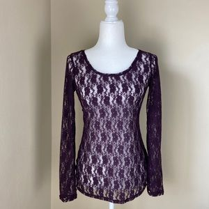 EXPRESS | Purple flower Lace long sleeve